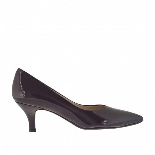 Escarpin de femmes en cuir verni laqué bordeaux talon 5 - Pointures disponibles:  34
