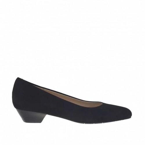 Woman's pump in black suede heel 3 - Available sizes:  43