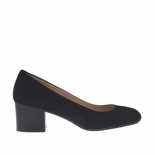Escarpin pour femmes en daim noir talon 5 - Pointures disponibles:  34