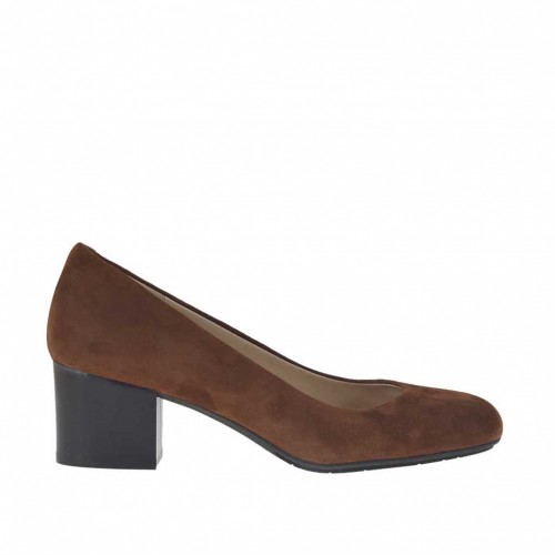 Pump shoe for women in tobacco brown suede heel 5 - Available sizes:  32, 33, 34, 42, 43, 44