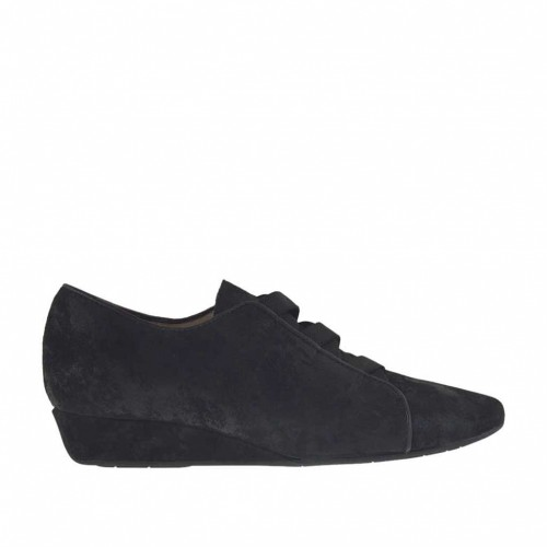 Woman's shoe with elastic in black processed suede wedge heel 3 - Available sizes:  33, 42, 43