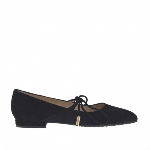 Woman's pump shoe with laces in black suede heel 1 - Available sizes:  45