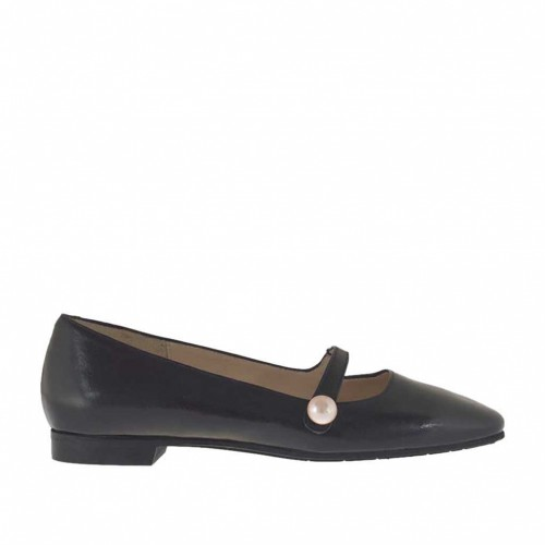 Woman's pump with strap and pearl in black leather heel 1 - Available sizes:  33, 43