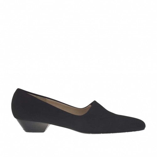 Woman's shoe in black elastic fabric heel 3 - Available sizes:  34, 43, 44