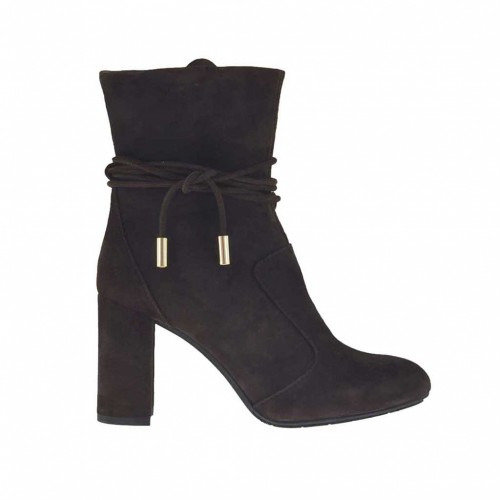 Woman's ankle boot with zipper and laces in dark brown suede heel 8 - Available sizes:  31, 32, 33, 42, 43, 46