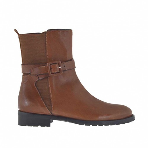 Woman's ankle boot with elastic band, zipper and buckle in tan leather heel 2.5 - Available sizes:  33, 34, 44, 45, 46