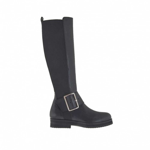 Woman's boot with elastic band and buckle in black leather heel 3 - Available sizes:  33, 34, 43, 45