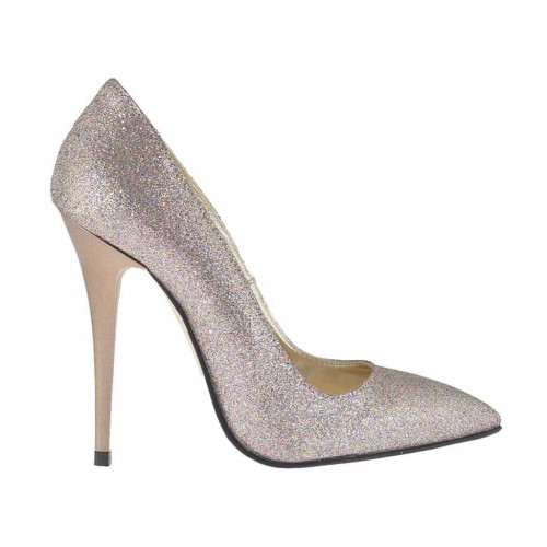 Woman's platinum multicolor glittered pump heel 10 - Available sizes:  42, 43