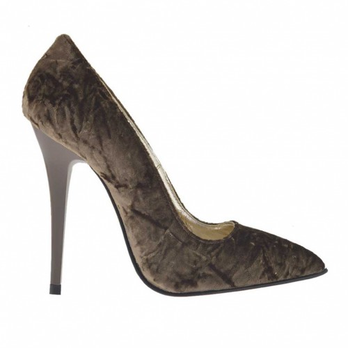 Woman's pump shoe in brown velvet varnished heel 10 - Available sizes:  32, 42