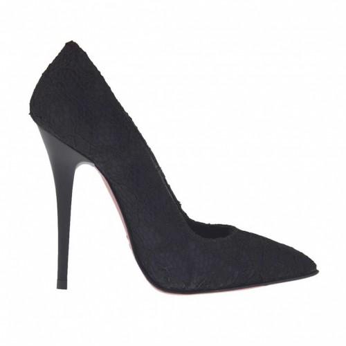 Escarpin pour femmes en dentelle noir avec talon brillante 10 - Pointures disponibles:  42