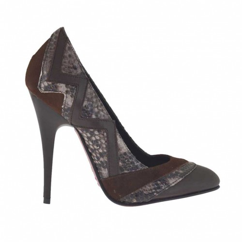 Women's pump shoe in dark brown leather, brown suede and brown printed leather heel 10 - Available sizes:  42