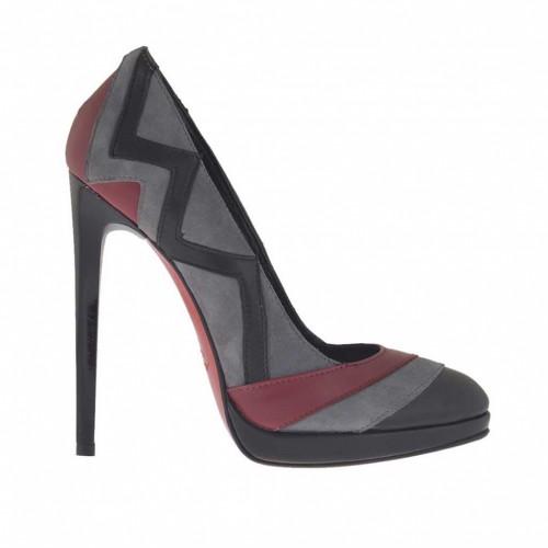 Escarpin pour femmes en cuir noir et bordeaux et daim gris avec plateforme talon 11 - Pointures disponibles:  32, 45, 46
