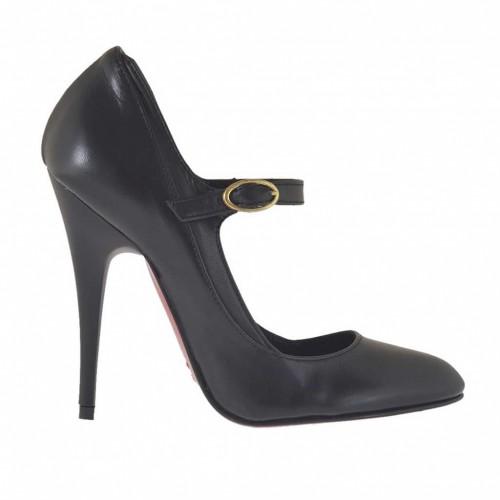 Escarpin pour femmes avec courroie en cuir noir talon 10 - Pointures disponibles:  32