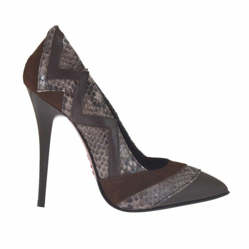 Women's pointy pump shoe in dark brown leather, brown suede and brown printed leather heel 10 - Available sizes:  32, 34, 42, 45, 46