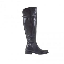 Stivale da donna al ginocchio con cerniera in pelle nera tacco 3 - Misure disponibili: 34, 47