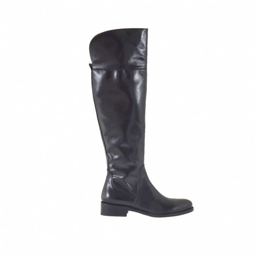 Woman's knee-high boot with zipper in black leather heel 3 - Available sizes:  34, 47