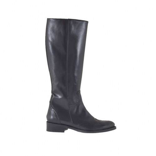 Woman's Oxford style boot with inner zipper in black leather heel 3 - Available sizes:  47