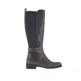 5e5c8280e40877 Bottes pour femmes avec élastique derrière et boucle en cuir gris marron  talon 3 - Pointures