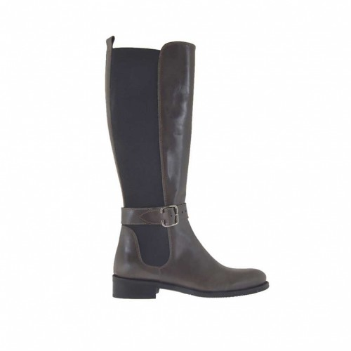 Woman's boot with backside elastic band and buckle in grey brown leather heel 3 - Available sizes:  33, 42, 43, 46, 47