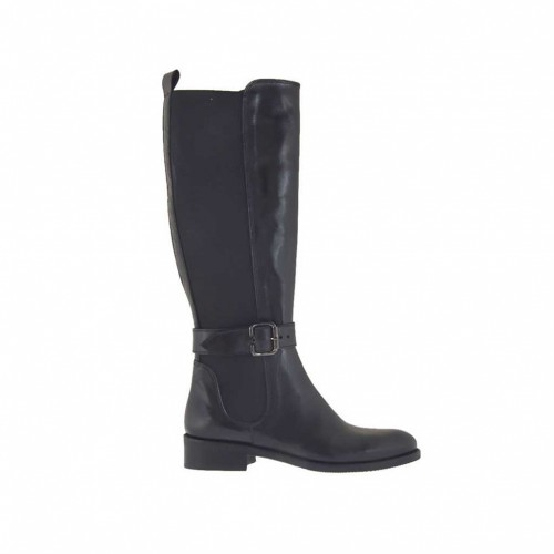 Woman's boot with backside elastic band and buckle in black leather heel 3 - Available sizes:  34, 47