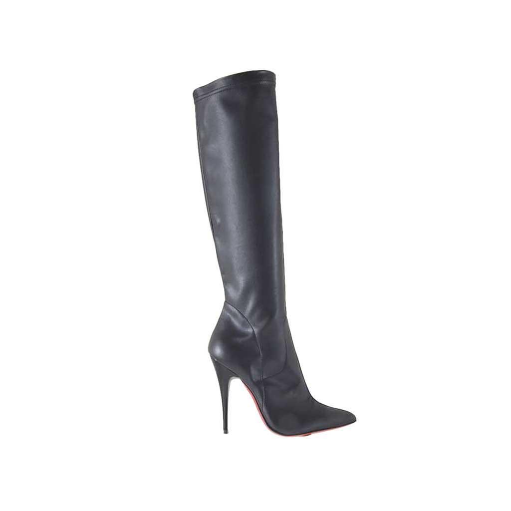 bottes pour femmes en cuir et cuir lastique noir avec. Black Bedroom Furniture Sets. Home Design Ideas