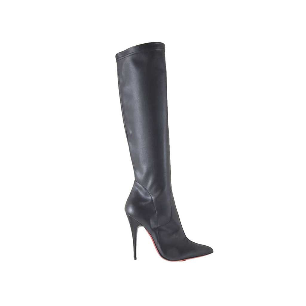 s boot in black leather and elastic leather heel 10