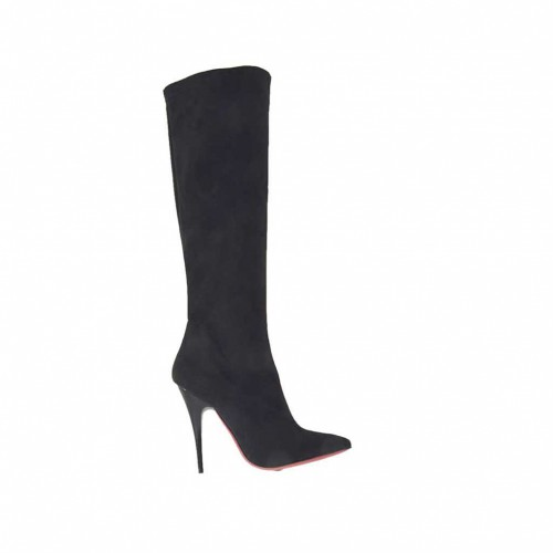 Bottes pour femmes en daim et matérial élastique noir avec talon 10 - Pointures disponibles:  31, 42