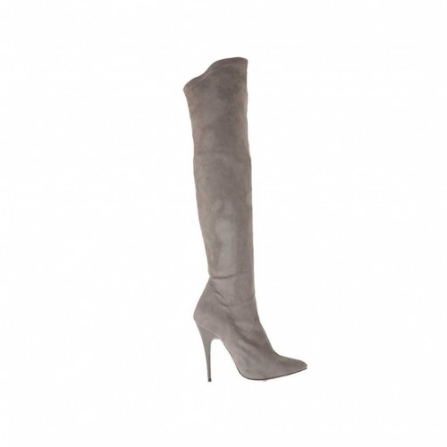Bottes au genou pour femmes en daim et matériau élastique gris avec talon 10 - Pointures disponibles:  34