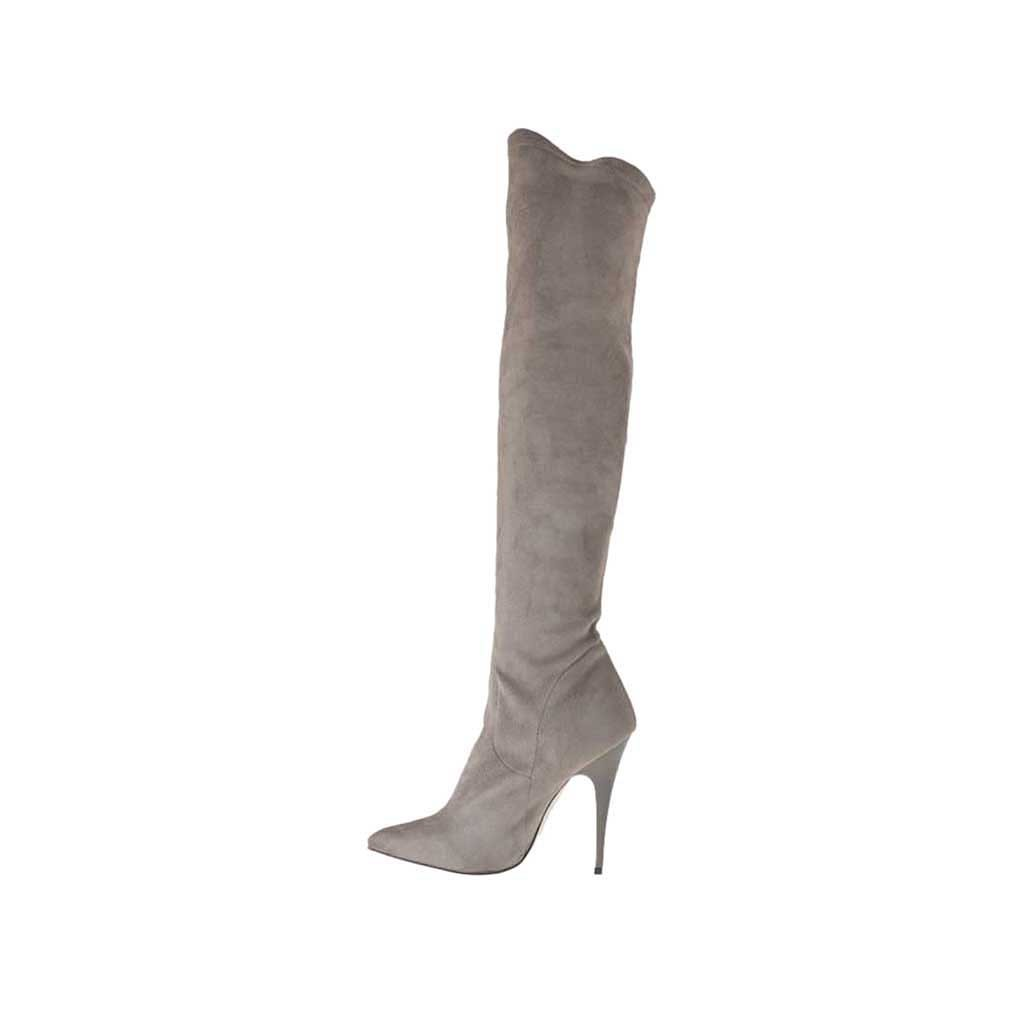 s knee high boot in grey suede and elastic suede