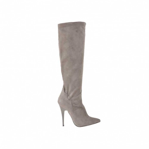 Woman's boot in grey suede and elastic material heel 10 - Available sizes:  32, 42