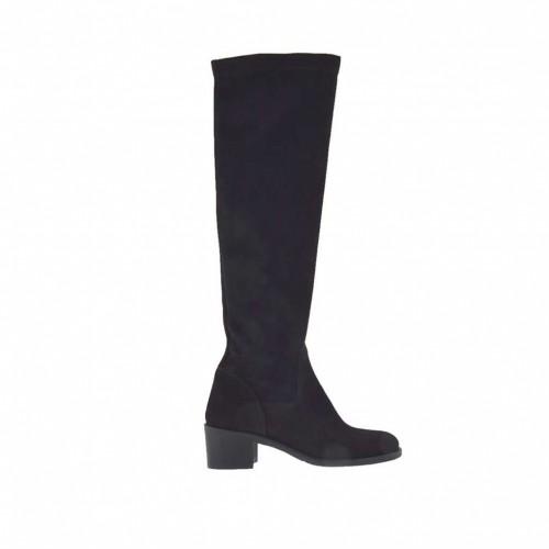 Bottes pour femmes en daim et daim élastique noir talon 5 - Pointures disponibles:  42, 43