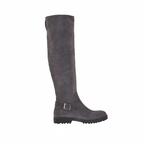 Woman's knee-high boot with half inner zipper and buckle in grey suede heel 3 - Available sizes:  33, 34