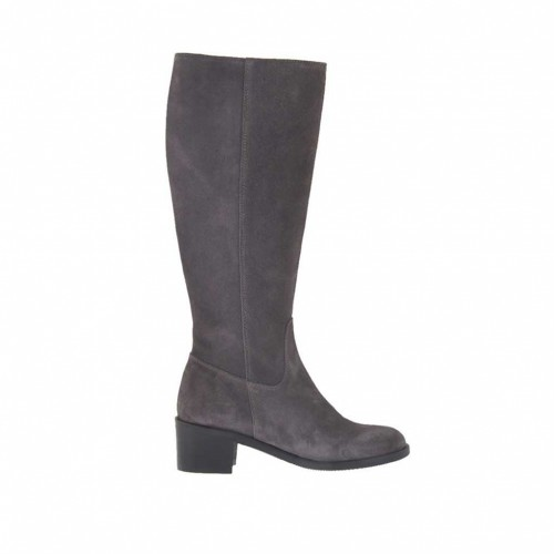 Woman's boot with zipper in grey suede heel 5 - Available sizes:  42, 43
