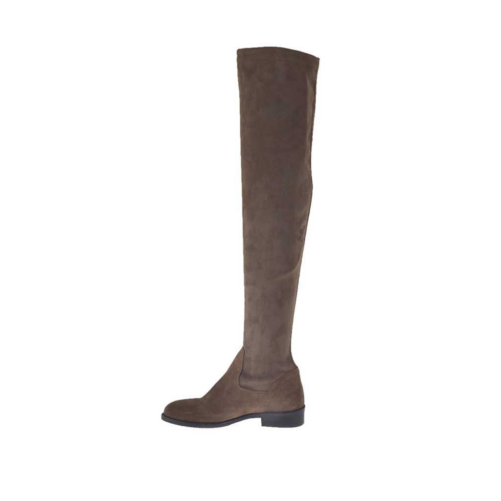 s the knee boot in taupe suede and elastic
