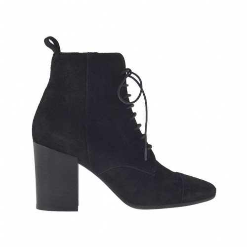 Woman's ankle boot with zipper and laces in black suede heel 7 - Available sizes:  33, 34, 44