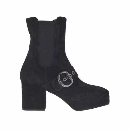 Woman's ankle boot with elastic bands, buckle, zipper and platform in black suede heel 7 - Available sizes:  42, 43, 45