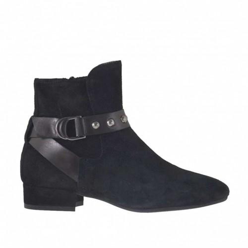 Botines pour femmes avec fermeture éclair, elastique, boucle et goujons en daim et cuir noir talon 2 - Pointures disponibles:  33, 34, 42