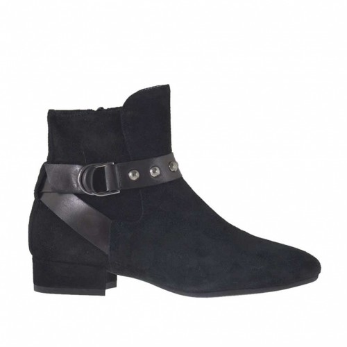 Woman's ankle boot with zipper, elastic, buckle and studs in black suede and leather heel 2 - Available sizes:  33