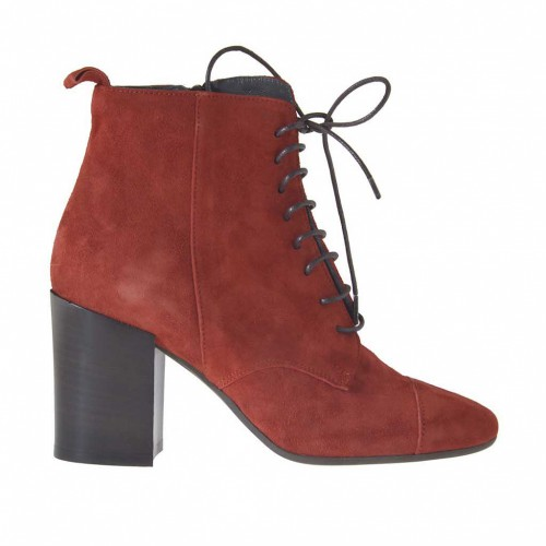Woman's ankle boot with zipper and laces in brick red suede heel 7 - Available sizes:  43