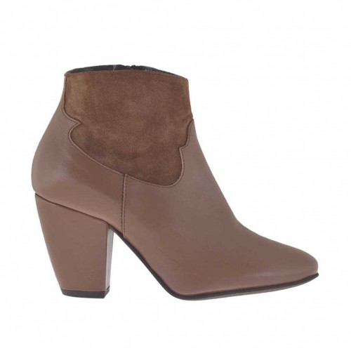 Woman's ankle boot with zipper in taupe leather and suede heel 7 - Available sizes:  43, 44