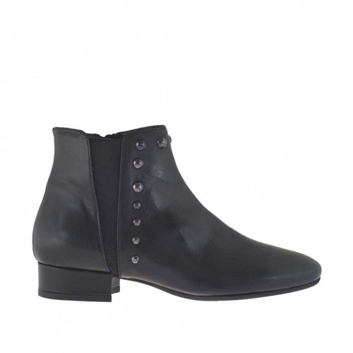 Woman's ankle boot with zipper, elastic and studs in black leather heel 2 - Available sizes:  32, 33, 34