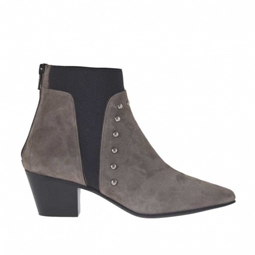 Woman's ankle boot with zipper, elastic and studs in dove grey suede heel 5 - Available sizes:  43, 44, 45