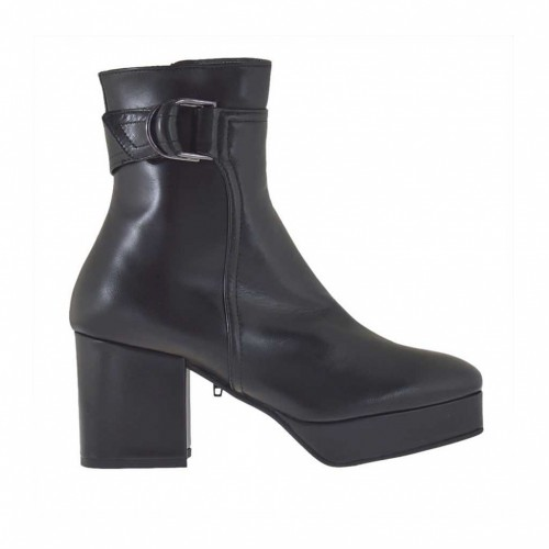 Woman's ankle boot with buckle, zipper and platform in black leather heel 7 - Available sizes:  44