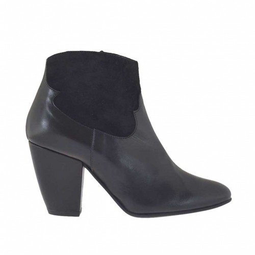 Woman's ankle boot with zipper in black leather and suede heel 7 - Available sizes:  34, 42