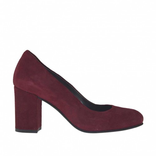 Woman's pump in maroon suede block heel 7 - Available sizes:  33