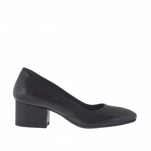 Escarpin pour femmes en cuir noir talon carré 4 - Pointures disponibles:  32