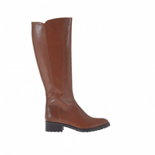 Woman's boot with zipper in tan leather heel 3 - Available sizes:  33, 42, 43