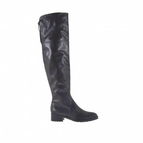 Bottes au genou pour femmes avec fermetures éclair en cuir noir talon 3 - Pointures disponibles:  32, 34