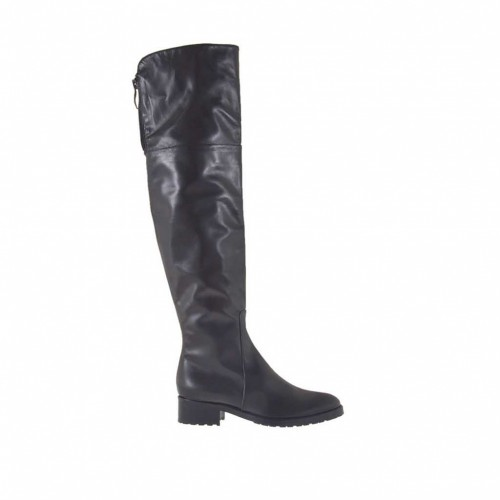 Woman's knee-high boot with zippers in black leather heel 3 - Available sizes:  32, 33, 34