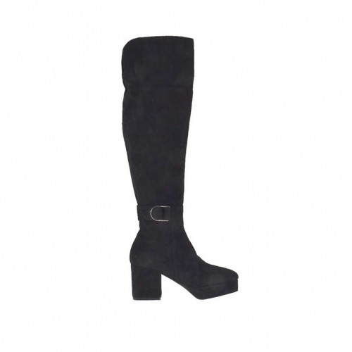Woman's boot with buckle, zipper and platform in black suede heel 7 - Available sizes:  32, 43, 44